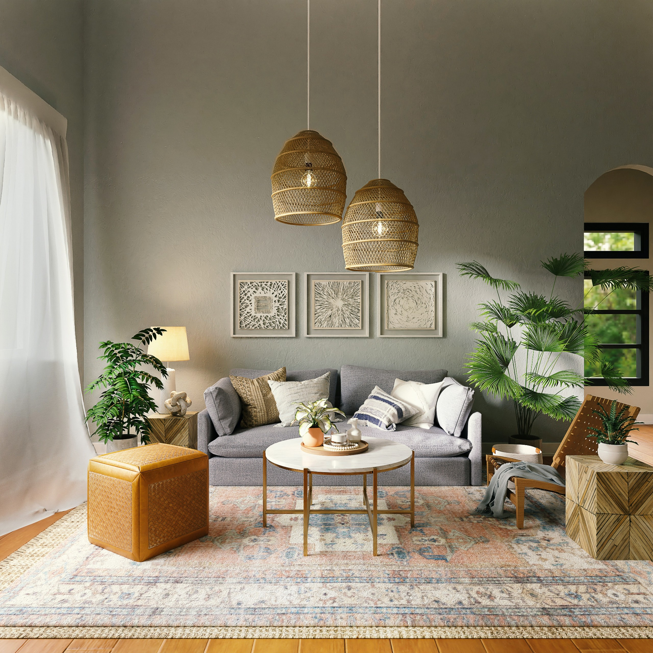 living room rug layout